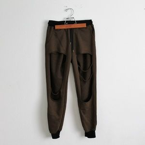Pants - *5for25* Green Open Thigh Joggers